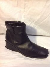 Bhs Black Ankle Leather Boots Size 6