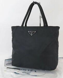Authentic PRADA Black Nylon Tote Hand Bag Purse #40467A