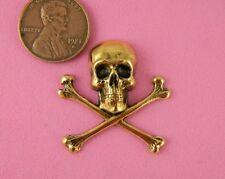 Large Ant Brass Skull & Crossbones - 1 Pc