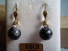 Obsidian Ohrhänger Gold 333, Goldohrhänger 333 mit Schneeflockenobsidian  8 mm