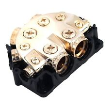 GOLD POWER GROUND DISTRIBUTION BLOCK MULTI GAUGE IN OUT CAR STEREO MARINE 12v US