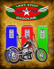 METAL MAGNET Last Stop Full Service Gasoline Gas Pumps Motorcycle MAGNET