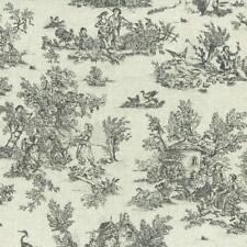 Textiles français Mini Toile de Jouy Fabric (La Vie Rustique) - Anthracite Grey