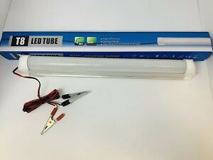 10W LED DC 12V Emergency T8 Tube StripLight Bulb 3m Cables + Crocodile Clip