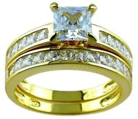 14k Yellow Gold Sterling Silver Princess cut Diamond Engagement Ring Wedding Set