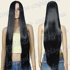 36 inch Hi_Temp Series  Black Bangless Long Cosplay DNA wigs 82001