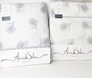 Anne De Solene Paris Plume Percale King Duvet Cover & Flat Sheet Feather Silver