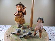 "Anri Music Box ""Do Re Mi"" Thorens Movement Boy Guitar Dog Lamp Post Birds Wood"