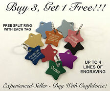 Custom Engraved STAR Pet Tag Dog Cat ID Name Animal - SMALL PET TAG - 10 COLORS