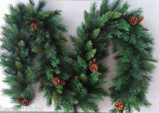 Mejor artificial 9 Pies 2.7 m De Lujo Navidad Guirnalda Conos De Pino Interior Xmas 215tips