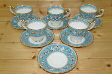 "Crown Staffordshire Ellesmere Turquoise (5) Demitasse Cups, 2 5/8"" & (6) Saucers"