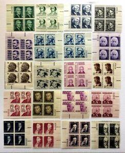 US SC #1278-1295 Prominent Americans Series Plate Block 4 Full Set MNH/OG