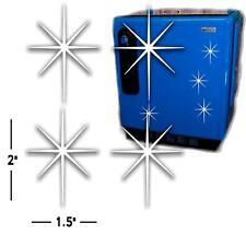 "(STAR-1) QTY4 2""X1.5"" WHITE ICE STARS SUN DROP COCA COLA PEPSI COOLER MACHINE"