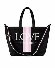 Victoria's Secret Weekender Tote Canvas Bag VS LOVE Logo New