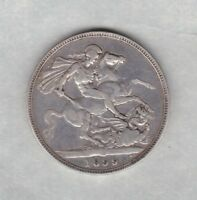 1899 LXIII VICTORIAN OLD HEAD SILVER CROWN IN GOOD FINE CONDITION