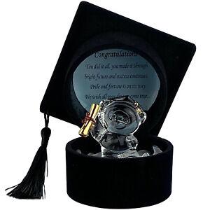 Graduation Teddy Bear Gift Crystal Keepsake Ornament Black Hat with Message Poem