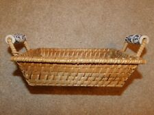 SMALL RECTANGULAR WICKER BASKET WITH BLUE & WHITE CERAMIC HANDLES