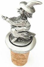 Witch On Broom Handcrafted From English Pewter Bottle Stopper + GiftBag