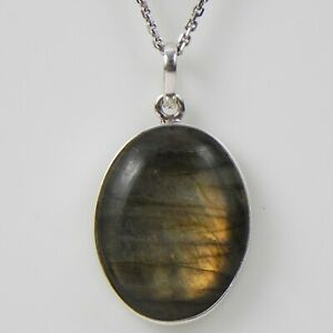 """925 Sterling Silver Labradorite Pendant Necklace with 18"""" Chain Women PWC-1238"""