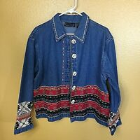 LIFE STYLE~Womens Long Sleeve Denim Jacket, Embroidered Size M One Of a Kind