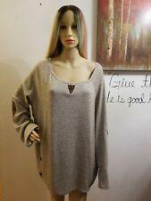SHE & SKY BROWN ELBOW-PATCH PULLOVER LONG SLEEVE TUNIC FRONTAL BUTTONS 1XL NWOT