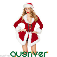 Women Christmas Costume One Piece Dress Hat Santa Claus Cosplay Phillack 9113