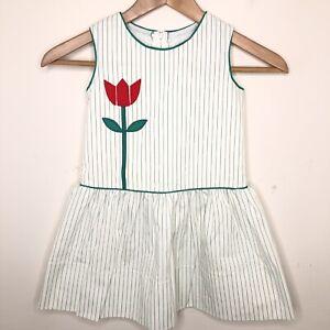 Vintage Florence Eiseman Girls 5 Dress Tulip Striped Green Sleeveless Drop Waist