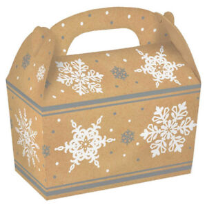 5 x Christmas Party Lunch Boxes Snowflake Party Gift Treat Box CHEAP CLEARANCE