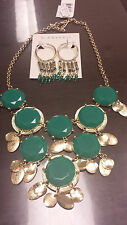 Brand NEW - Haskell Necklace Gold-Tone Teal Faceted Bead and Earrings Set