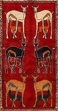 Tribal Animal Pictorial Hand-Knotted Gabbeh Wool Area Rug Oriental Carpet 3'x6'