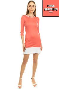 BYBLOS Sheath Dress Size IT 40 / XS Distressed Split & Dipped Hem 3/4 Sleeve