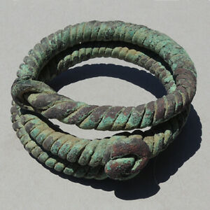 an old antique twisted copper african bracelet nigeria #204