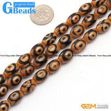 "8x12mm Vintage Mystical Tibet Agate Dzi Gemstone Olivary Rice Loose Beads 15"""