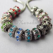 4PCs European Birthstone Beads Set - Large Hole Spacers - 15 Colors Available