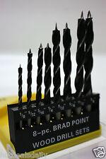 """8 PC SET BRAD POINT WOOD DRILLS 1/8 5/32 3/16 1/4 9/32 5/16 11/32 3/8"""" TWIST NEW"""