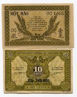 French Indochina 10 cents P89 ND 1942 Au Rare Banknote