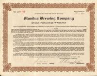 Mundus Brewing Company > Detroit Michigan beer stock certificate