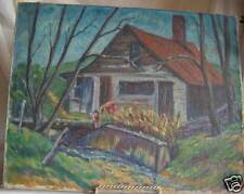 W.P.A.Era 1942 oil painting Oil on canvas Country shack & little girl