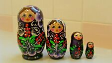 Vintage Russian Wood Hand Carved and Painted Nesting 4 Dolls