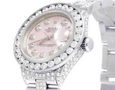 Ladies Rolex Datejust Oyster 26MM Pink MOP Dial Iced Out Diamond Watch 10.5 Ct