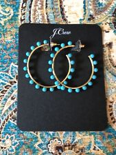 Out! New$29.50 Monaco Blue Authentic J.Crew Beaded Hoop Earrings Sold