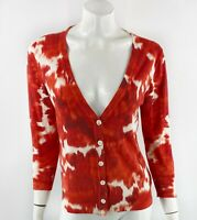 J Crew Womens Cardigan Sweater Size Medium Red White Tie Dye V Neck Cotton Top