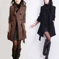 Women's Double-breasted Long Slim Warmer Wool Trench Parka Coat Outwear Jacket
