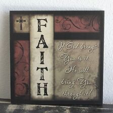 Primitive Country Wood Faith Sign Handmade Inspirational Home Wall Decor 0431