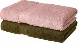 2 Piece 100% Cotton  Bath Towel Set, 500 GSM (Brown and Baby Pink)
