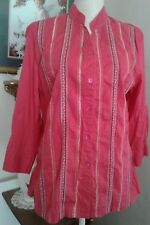 Napa Valley Womens Large Tunic Shirt Pink Embroidered Button Down 3/4 Sleeves