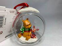 Disney 2019 Winnie the Pooh and Piglet Glass Globe Sketchbook Christmas Ornament