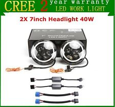 "2X 7"" 40W Round LED Headlight Hi/Lo Halo Angel Eye for Jeep Wrangler JK CJ TJ LJ"