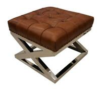 Chesterfield Buttoned Distressed Vintage Tan Leather Metal Footstool Ottoman