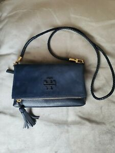 Tory Burch Taylor Mini Fold Over Crossbody Royal Navy Suede & Leather $328 New!